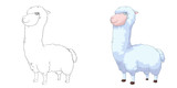 Fototapety Creative Illustration and Innovative Art: Animal Set: Sketch Line Art and Coloring Book: Alpaca. Realistic Fantastic Cartoon Style Character Design, Wallpaper, Story Background, Card Design