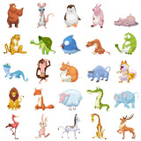 Fototapety Creative Illustration and Innovative Art: 25 Animals Sets isolated on White Background. Realistic Fantastic Cartoon Style Artwork Character Design Wallpaper Card Game Design Jigsaw Puzzle Design
