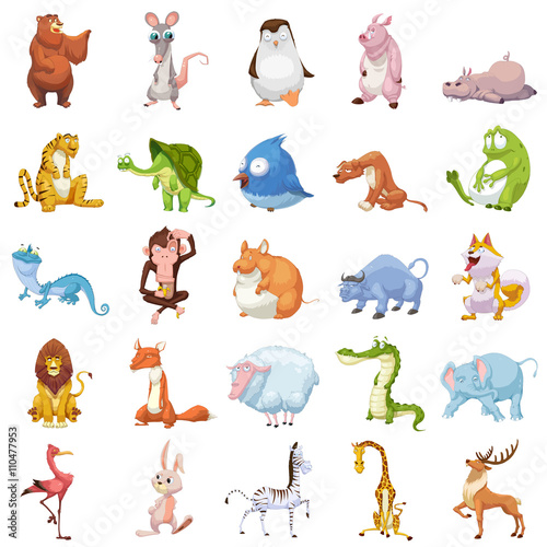 Creative Illustration and Innovative Art: 25 Animals Sets isolated on White Background. Realistic Fantastic Cartoon Style Artwork Character Design Wallpaper Card Game Design Jigsaw Puzzle Design - 110477953