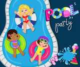 Fototapety Children's Pool Party isolated on background. Vector Illustration.