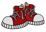 Fototapety Red sneakers / Hand drawing, vector illustration