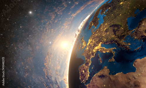 Detailed colorful Earth, highly detailed planet earth in the morning