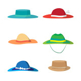 Set of different colored beach hats. Headgear to protect against