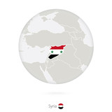 Map of Syria and national flag in a circle.