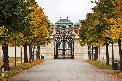 Poster Belvedere Palace complex in Vienna. Austria