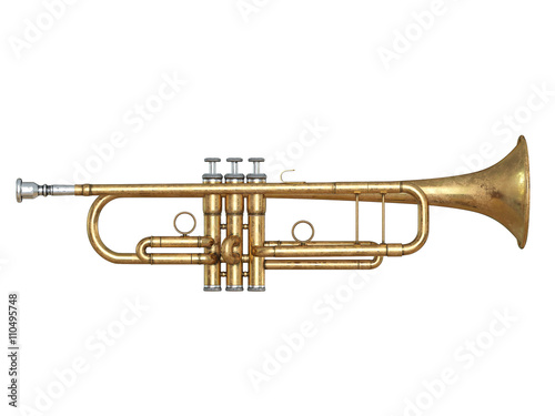 Staande foto Muziekwinkel Trumpet isolated on white 3D rendering