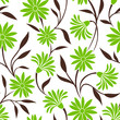 Vector seamless pattern with green flowers and brown leaves on a white background.
