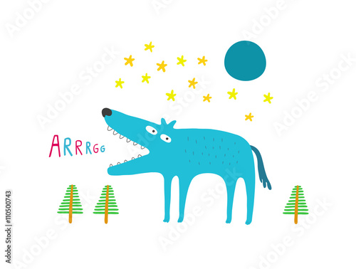 Wolf in the forest at night, full moon and stars, vector illustr © Irmun