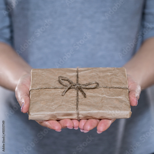 Female hands with simple wrapped gift Poster