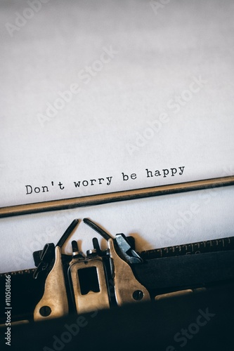 Don't worry be happy message on a white background Poster