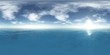 HDRI, High resolution map. the sun in the clouds over the sea