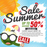 Summer Sale Banner Vector Illustration.