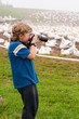 Photographing the nesting colony of northern gannets on Ile Bonaventure.