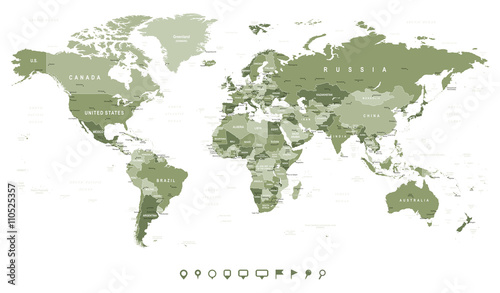 Swamp Green World Map - borders, countries and cities -illustrationHighly detailed vector illustration of world map.