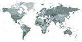 Fototapety Grayscale World Map - borders, countries and cities - illustration   Highly detailed gray vector illustration of world map.