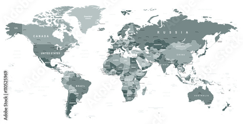 Grayscale World Map - borders, countries and cities - illustrationHighly detailed gray vector illustration of world map.