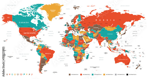 Green Red Yellow Brown World Map - borders, countries and cities - illustration