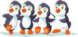 cute four penguins cartoon