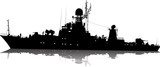 Vector silhouette of the military ship on a white background