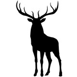 Black silhouette of a deer. Vector illustration