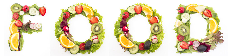 Word food made of salad and fruits
