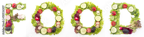 Foto op Canvas Verse groenten Word food made of salad