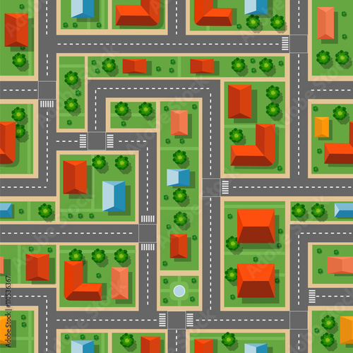 Foto op Aluminium Op straat Top view of the city seamless pattern of streets, roads, houses, and cars