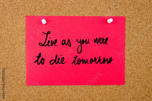 Poster Red paper note with handwritten text on cork board