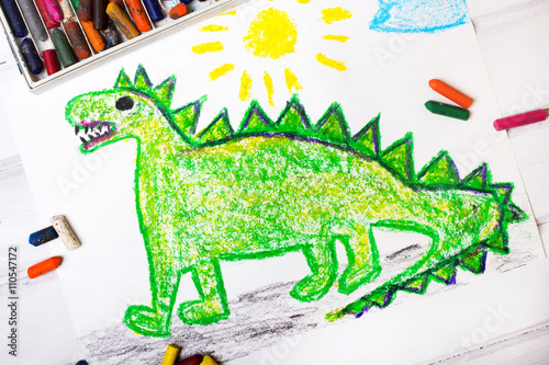 Poster colorful  drawing: green dragon