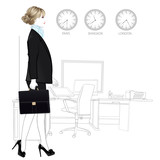 International business woman entering in office