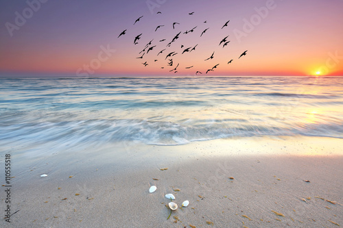der Tag beginnt am Meer, Sonnenaufgang am Strand - 110555518