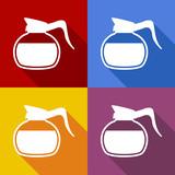 Icono plano jarra de cafe con sombra en varios colores