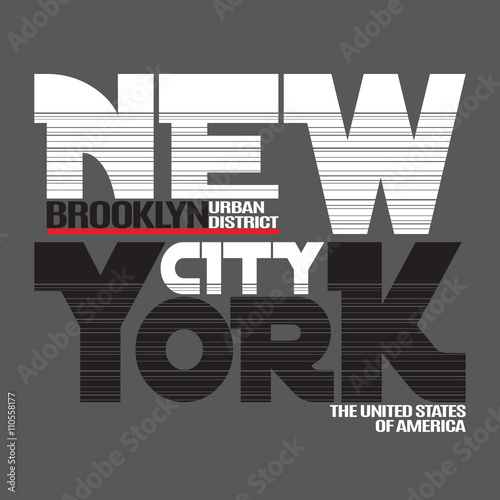 New York city Typography Graphics. Fashion stylish printing design for sportswear apparel. NY original wear. Brooklyn district of NYC. Concept in modern style for different print production. Vector © alona_s