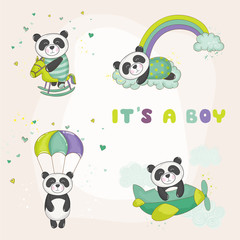 Baby Panda Set - for Baby Shower or Baby Arrival Cards - in vector