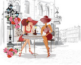Fashion people in the street cafe. 110330350, casual shoes. shoes. women