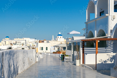 Oia. Central village street for walking.