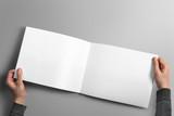 Blank horizontal brochure mockup on light grey background.
