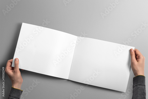 Blank horizontal brochure mockup on light grey background.