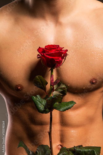 Man with muscular torso holding rose