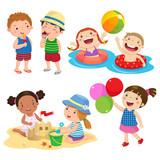 Fototapety Set of children play on the beach