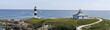 Panorámica de los dos faros de la Isla Pancha en Asturias