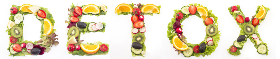 Word detox made of salad and fruits