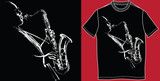 T-shirt with saxophonist - 110627750