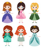 Fototapety Collection of beautiful princesses.