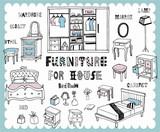 Fototapety Hand drawn home furnishing set-Bedroom