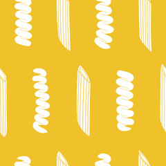 Seamless pattern with italian pasta elements. Repeated food background. Kitchen surface design for napkins, kitchen towels, wrapping paper, wallpaper  © rinohara