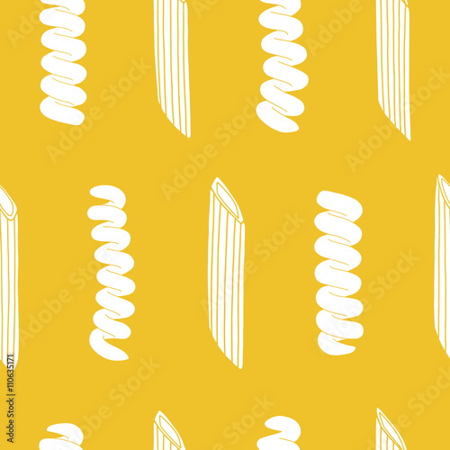 Seamless pattern with italian pasta elements. Repeated food background. Kitchen surface design for napkins, kitchen towels, wrapping paper, wallpaper