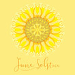 A geometric design for summer solstice day in June on a yellow background