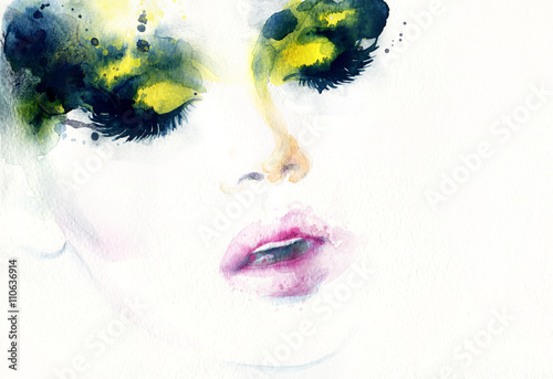 Abstract fashion watercolor illustration. Beautiful woman face.  - 110636914