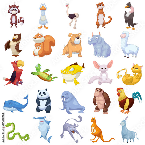 Creative Illustration and Innovative Art: Animal Creature Set 2 iSolated on White Background, cat, dog, pet, fish etc. Realistic Fantastic Cartoon Style Character Design, Wallpaper, Story, Card Design - 110638784